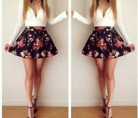 Sexy low-cut V-neck long-sleeved floral mini dress IFDS;