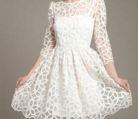 Korean version of sweet slim long sleeved lace dress DFB
