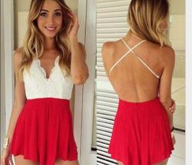 Summer sexy halter straps sleeveless v-neck lace piece pants SG